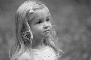 Black and white photo of etherial looking little girl Cherry Hills Preschool West Linn