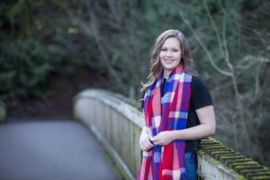 Portrait of Senior girl on bridge George Rogers Park Willamette River Lake Oswego