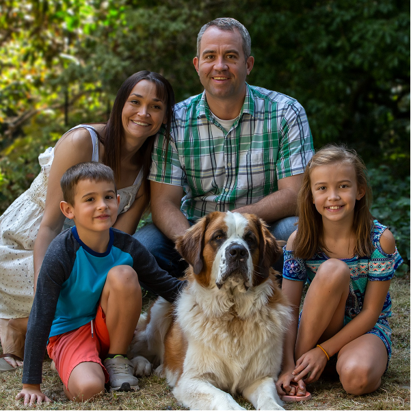 Portrait of Young family with St. Bernard on property Oregon City