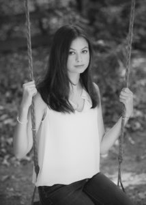 Black and white Portrait senior girl on swing West Linn